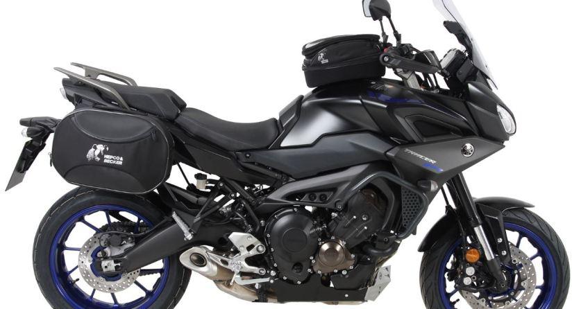 Yamaha 900 Tracer with Hepco Becker crash bars, Tank Ring, C-Bow mounts, Street side bags, Bug Spoiler & Tank Bag!